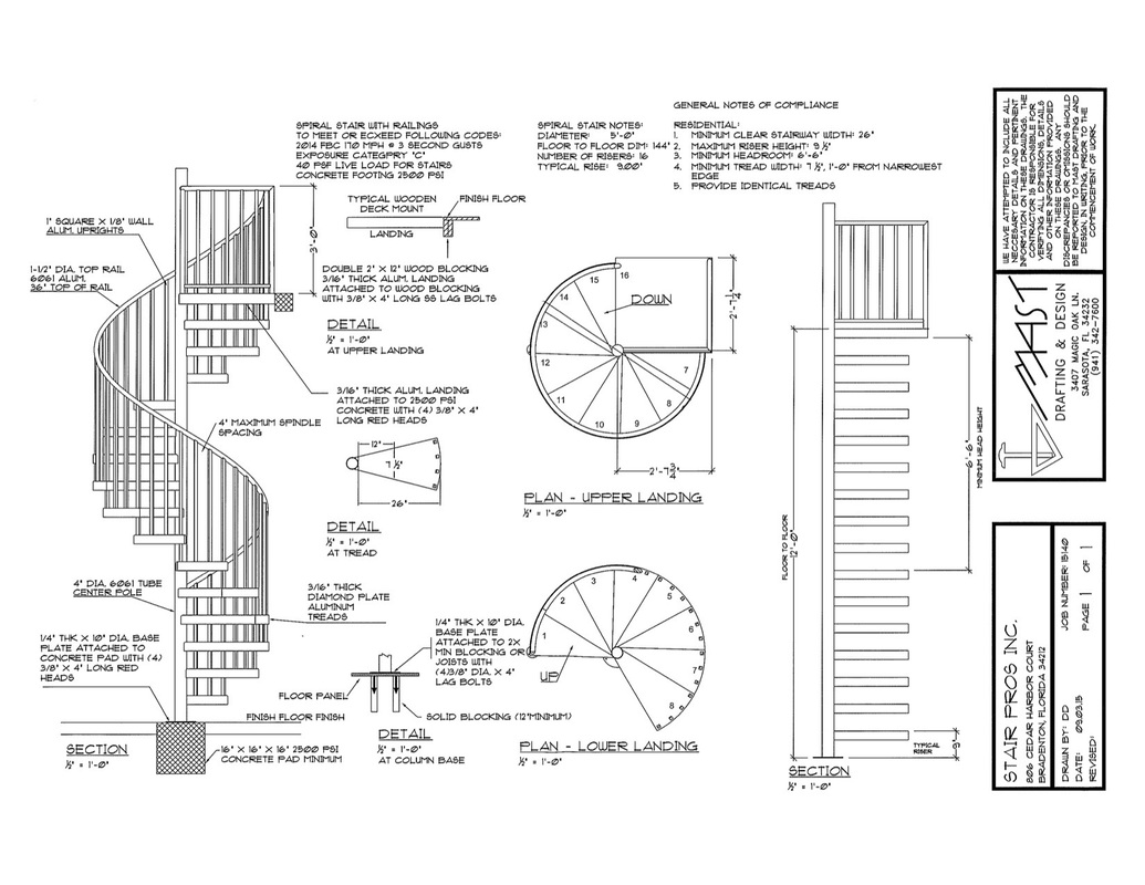 Blueprint spiral stairs and rails since 2004 for Spiral staircase blueprints